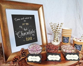 Hot Chocolate Bar Printable Set - Hot Cocoa Party - Baby Shower - Wedding - Birthday - Printable Hot Chocolate Bar