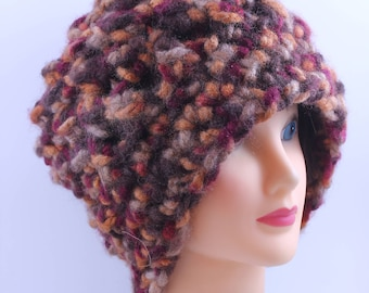 Grobstrick Beanie in Herbstfarben, übergroße, Unisex, Mütze