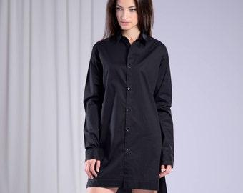 Black Tunic Shirt, Asymmetrical shirt, Extravagant tunic, Gothic shirt, Black shirt, Sexy Black tunic, Oversized shirt, Minimalist Shirt