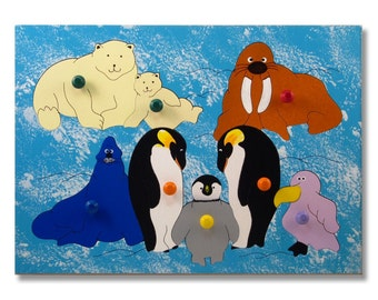 Wooden Peg Puzzle | Polar Animals