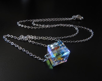 Crystal Cube Necklace In Silver, Simple Crystal Necklace,  Everyday Necklace, Swarovski Crystal, Rainbow, Bridesmaids Gift