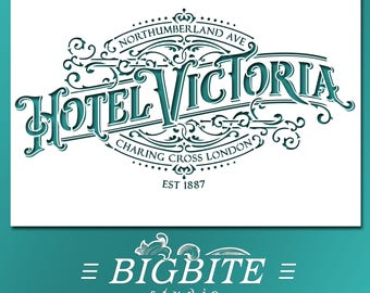Vintage Stencil - English Hotel Victoria Advert #070