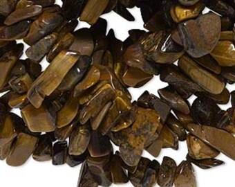 "WHOLESALE - Tiger's Eye Small Gemstone Chips (Three 35"" Strands)"