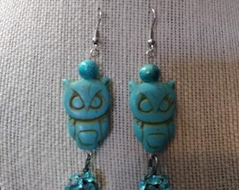 Turquoise Owl Earrings