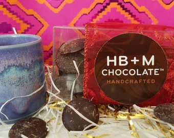Sipping chocolate gift box: HB+M Chocolate 58% cacao, fair trade
