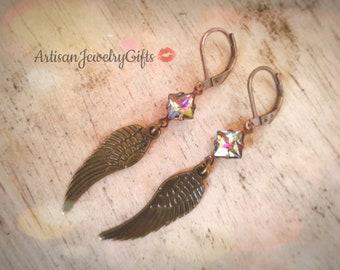 Antique Brass Wing Rainbow Gem Earrings Angel Wing Earrings Boho Earrings Rainbow Glass Gem Earrings Bohemian Earrings Feather Earrings
