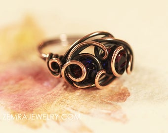Copper Wire Ring Garnet/Amethyst Czech Glass Wire Wrapped Size 7 Copper Wire Wrap Boho Freeform Swirling Winds & Waves Copper Statement Ring
