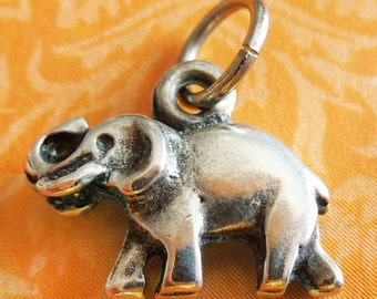 Vintage 3D Elephant Sterling Silver Charm