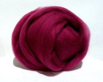 Crabapple Merino wool Roving top,  Needle Felting, Spinning Fiber, red violet, dark pink, deep fuchsia, magenta