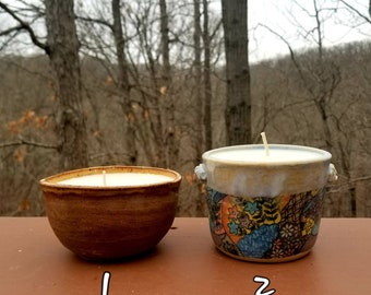 Citronella candle, handmade pottery bowl, essential oil citronella candle, soy wax, marbled clay, FREE SHIPPING