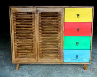 Sideboard/French Shutter Doors/ Multi Color/ Custom made/ Handmade