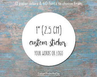 """126 custom stickers, circle shape, 1"""" in size, wedding favors, envelope seals, logo stickers, kraft stickers, personalized labels (S-33)"""