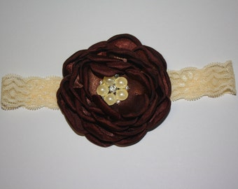 Vintage Dark Brown Lace, Pearl & Rhinestone Boutique Flower Headband (13.5 inches Normally Fits NB-6M)