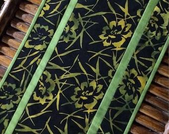 Modern batik table runner, batik table runner, black table runner, quilted table runner, black quilted table runner, lime green table runner
