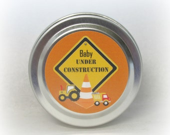 30 Baby Boy Under Construction Soy Candle Favor, Baby Shower Favor, Under Construction, Custom, 2 ounce Metal Tin