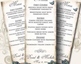 Le Jardin BLUEBELLS Wedding Menu, Printable Digital Images, Weddings, Parties, Bridal Shower, Baby Shower, Birthday, Wedding Decorations