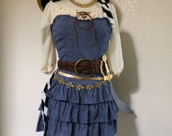 Small Adult Women's Pirate Halloween Costume Including Jewelry - Small