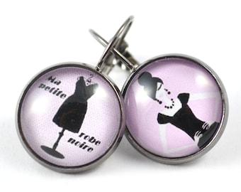 """Earrings sleepers cabochon 16 mm """"Little black dress"""""""