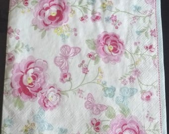 Old paper roses and butterflies towel