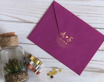 Personalized wedding stickers, wedding favor stickers, initials wedding stickers, foil stickers, envelope seal, initial wedding stickers