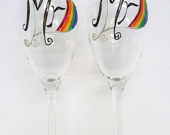 Personalized Gift Gay Wedding Gift of Custom Wine Glass Unique Wedding Gift Gay Marriage Gay Pride Gay Couple Glasses Champagne Flute