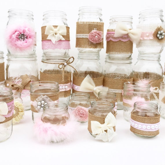 Shabby Chic Centerpieces Mason Jars Rustic Baby Shower Baby