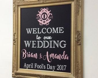 "CHALKBOARD WEDDING Hashtag SIGN Chalkboard Sign Gold Wedding Blackboard 31""x27"" Rustic Wedding Welcome Sign Menu Gold Wedding Decor"
