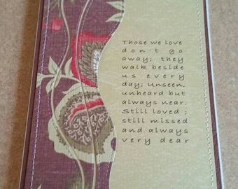 Handmade Sewn Sympathy Card. Bereavement. Grief. Loss of a Loved One.