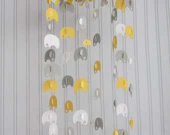 Elephant mobile yellow white and gray mobile or you can CHOOSE YOUR COLORS! nursery mobile, nursery decoration, paper mobile