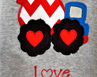 Valentine theme construction vehicle shirt with name or other wording
