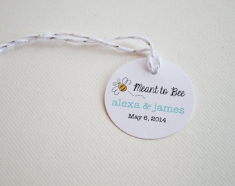 """Mini 1.5"""" Meant to Bee Round Small Label Tags - Custom Wedding Favor & Gift Tags"""
