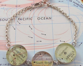 Sterling Silver Custom Map Bracelet, Travel Gift, Gift for BFF, College Graduation Gift, Personalized Bracelet Gift, fun gfit teen daughter,