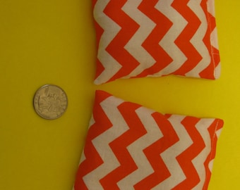 2 Orange Chevron Rice Bags - Nail Application - Hot or Cold Compress - Pick Your Size - Reusable Rice Bags