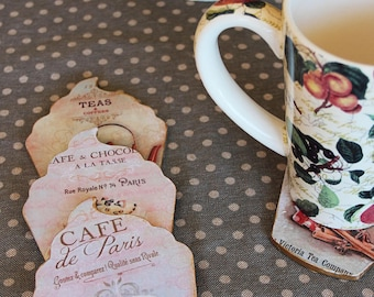 Coaster romantic and delicious - cup cake and tea time - spirit shabby chic