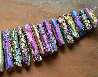 FULL STRAND 34 Pcs Top-Drilled Rainbow Electroplated Agate Pendants
