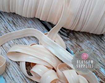 NO SLIP - Silicone Lined Elastic - 2, 5, or 10 Yards Nude 5/8 Inch Fold Over Elastic - Shiny foe - Baby Headband Elastic Pale Peach Blush