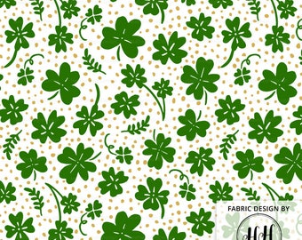 Clover Fabric in Green and Gold | St. Patrick's Day Fabric | Four Leaf Clover Lucky | Shamrock Fabric Print by the Yard & Fat Quarter