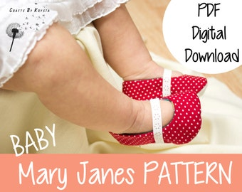 Baby and Toddler Fabric Mary Janes Shoes Sewing Pattern - Instant PDF digital download