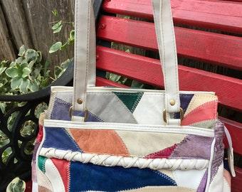 Vintage Ecru with Multi Colored Patchwork Briar Stitch Look Purse or Handbag