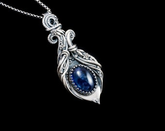 Fine silver pendant with lavender iolite gemstone // gift for her // Christmas