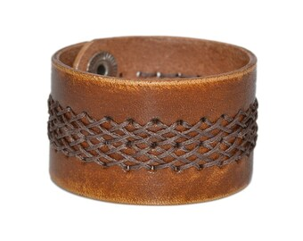 Wide Leather Bracelet Brown / Leather Band Bracelet, Leather Cuff Bracelet / Mens Bracelet, Leather Wristband, Leather Wrap Bracelet