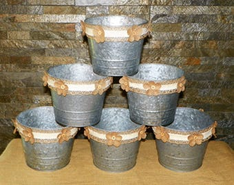 "Metal Buckets, Large 6"" High by 7 1/4"" Wide Grey Galvanized Metal Pails, Set of 6 Burlap Ribbon / Flowers, Add Potted Flowers, Centerpieces"