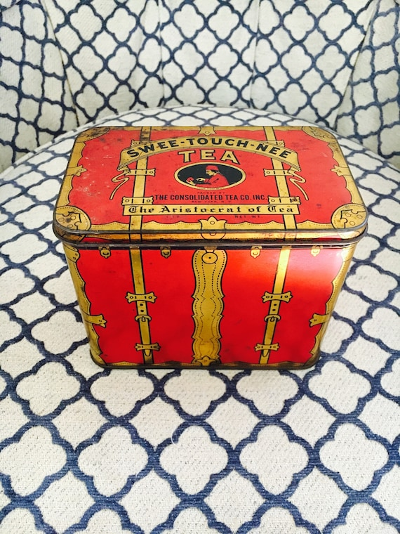 Vintage Mid-Century Red + Gold Swee-Touch-Nee Tea Tin - The Aristocrat of Tea Pirate Chest - 1 lb. Tea Tin - MCM Tea Tin