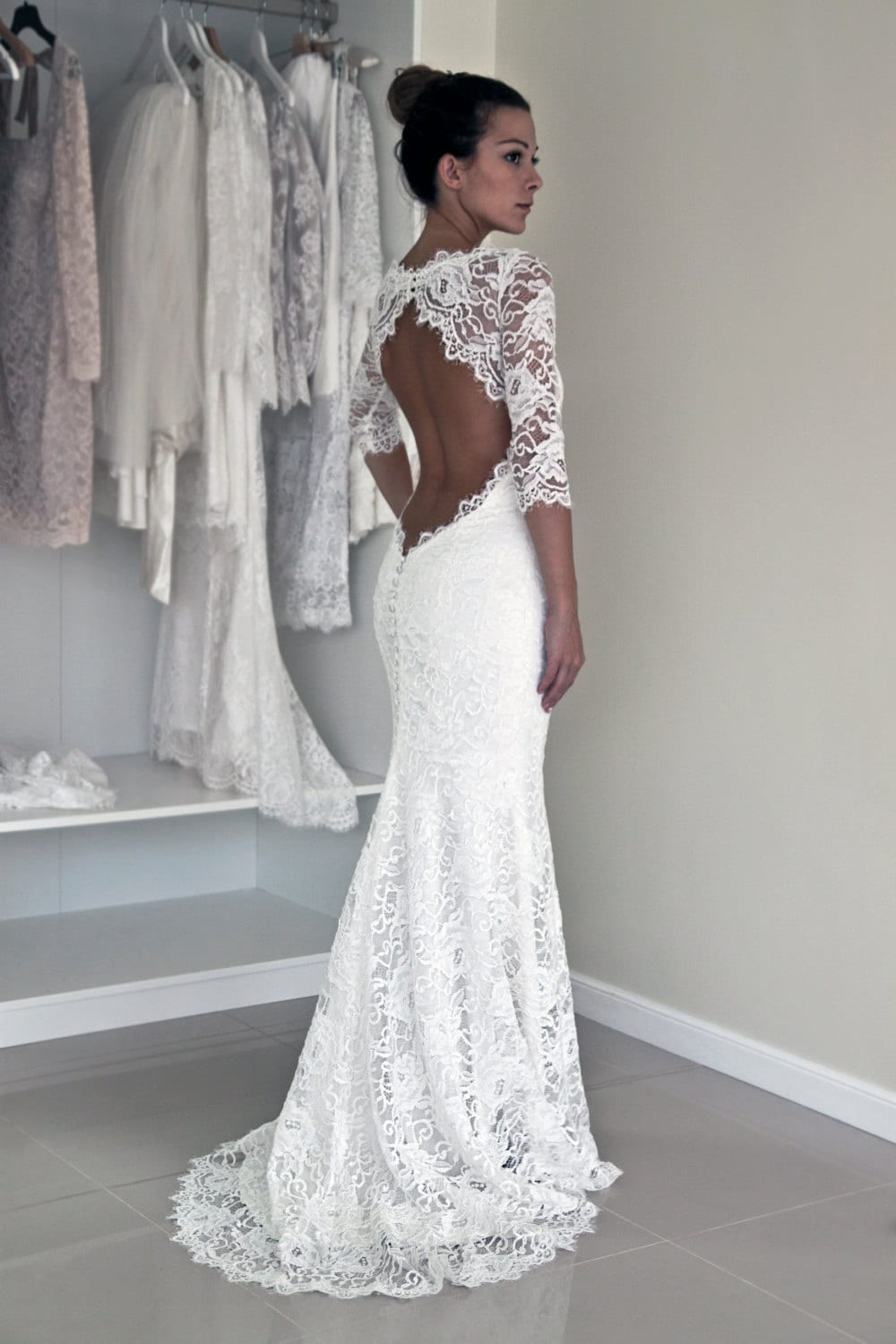 Keyhole back wedding dress in corded french lace illusion zoom junglespirit Gallery