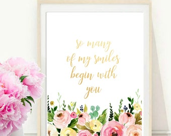 So Many Of My Smiles Begin With You, Nursery Printable, Nursery Wall Art, Printable quote,  Instant Download, Wall Decor