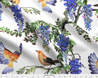 Robin + Wisteria Fabric - Birds And Wisteria By Svetlana Prikhnenko - Watecolor Floral Decor Cotton Fabric By The Yard With Spoonflower