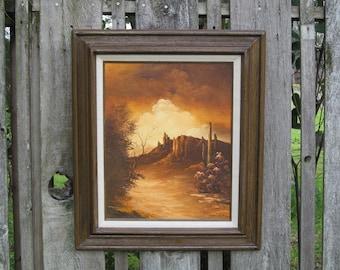 Vintage Oil Painting Sonoran Desert Landscape