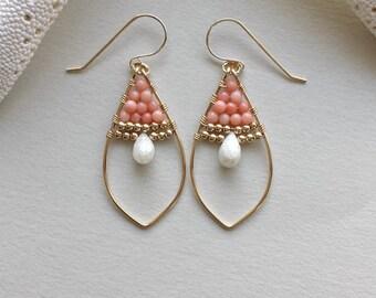 Peach Gold Hoop Earrings, Peach Coral Earrings, Silverite Earrings, Peach White Gold, Marquise Hoop Earrings