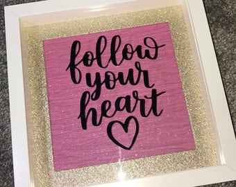 Follow Your Heart Quote Light Box Frame