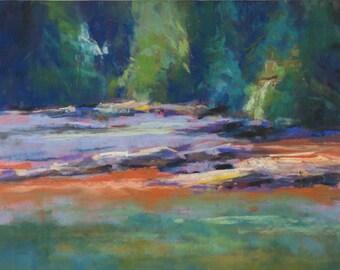River Edge Rocks - 8x10 - Pastel Original